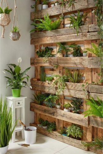 Opção de jardim vertical aplicado em madeia no formado de caixotes. Foto Mdemulher