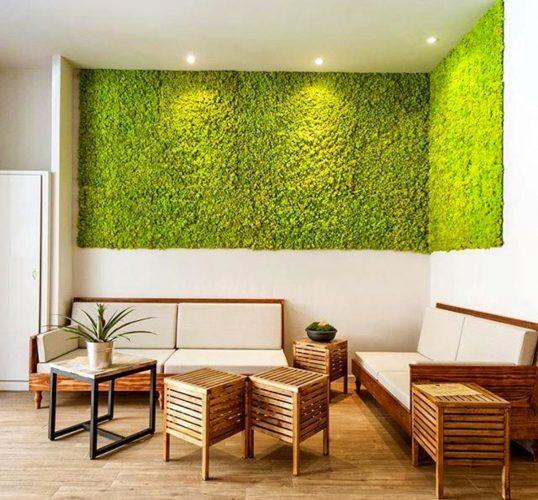Aplicação com musgo. Boa opção para ambientes internos. Foto: Ateliê Rafaela Pinotti.